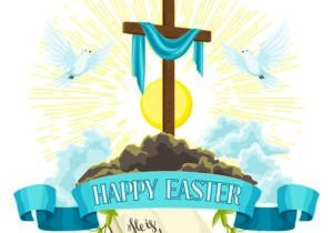 Wooden Cross With Shroud Bible And Doves Happy Easter Concept Illustration Or Greeting Card Religious Symbols Of Faith Wooden Cross With Shroud B